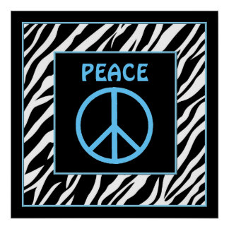 Zebra and Turquoise Blue Peace Sign Wall Decor Poster