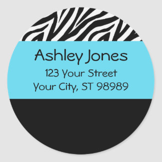 Zebra and turquoise blue return address labels
