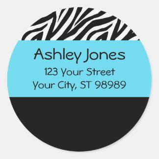 Zebra and turquoise blue return address labels classic round sticker