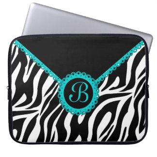 Zebra and Turquoise Lace Monogram Laptop Sleeve
