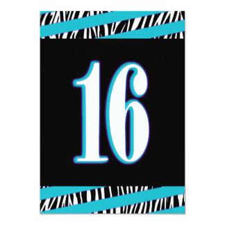 Zebra and Turquoise Sweet 16 Birthday Invitation