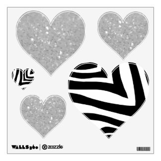 Zebra And White Glittery Look Heart: Wall Decals