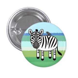 Zebra And Yellow-billed Oxpecker 1 Inch Round Button