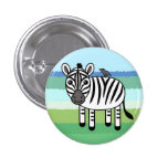 Zebra And Yellow-billed Oxpecker Pinback Button