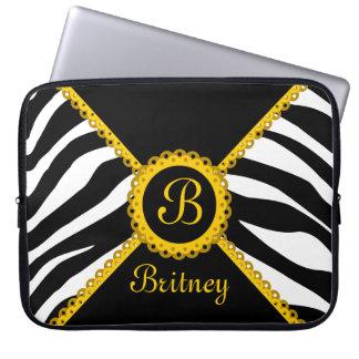 Zebra and Yellow Lace Monogram Laptop Sleeve