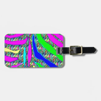Zebra animal pattern colorful abstract pattern bag tag