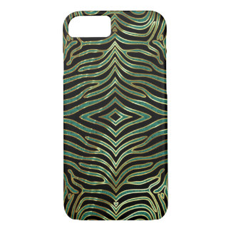 Zebra Animal Pattern In green Glitter & Black iPhone 7 Case