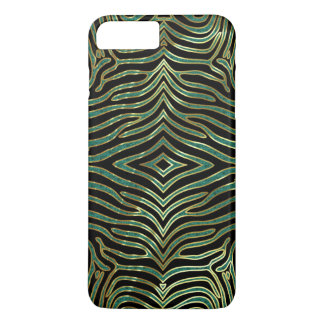 Zebra Animal Pattern In green Glitter & Black iPhone 7 Plus Case