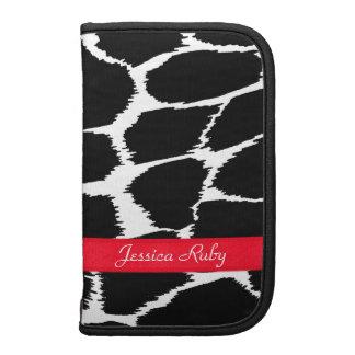 Zebra animal print black white red named folio planners