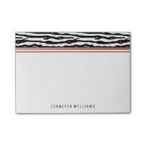 Zebra Animal Print | Black White Rose Gold Name Post-it Notes