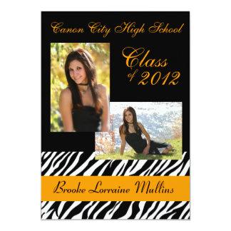 Zebra animal print graduation announcement