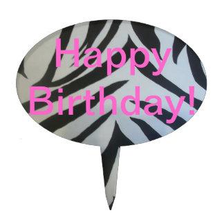 Zebra animal print Happy Birthday cake topper