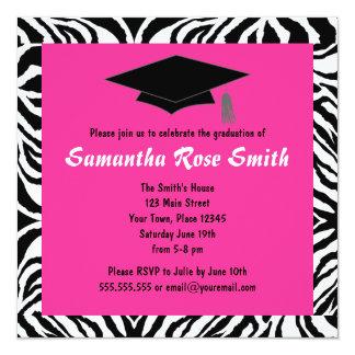 Zebra Animal Print Hot Pink Graduation - Custom Invitation