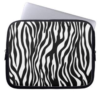 Zebra Animal Print laptop sleeve white Black