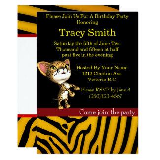 Zebra animal print party cheetah birthday 5 card