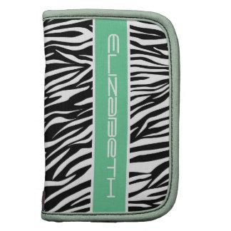 Zebra animal print pattern black white mint green organizers