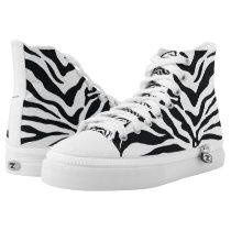 Zebra Animal Print Pattern High Top Sneakers