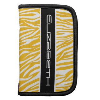 Zebra animal print pattern yellow white black planner
