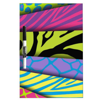 Zebra Animal Print Various Colors Add Text Dry Erase Board