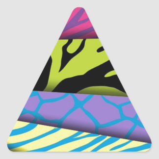 Zebra Animal Print Various Colors Add Text Triangle Sticker