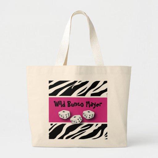 Zebra Animal Print WIld Bunco Player Tote Bags