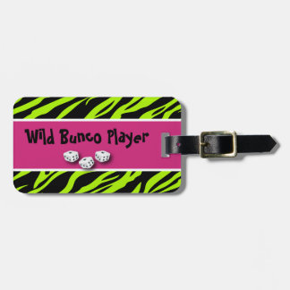 Zebra Animal Print WIld Bunco Player Bag Tag