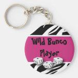 Zebra Animal Print WIld Bunco Player Basic Round Button Keychain
