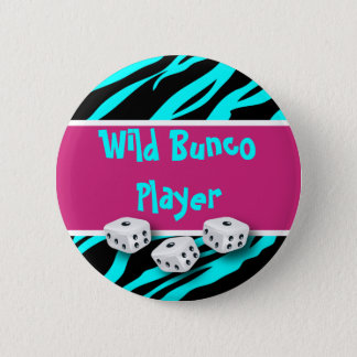 Zebra Animal Print WIld Bunco Player Button