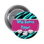 Zebra Animal Print WIld Bunco Player 2 Inch Round Button