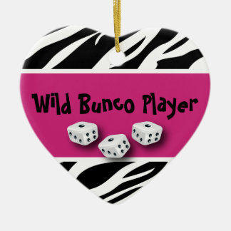 Zebra Animal Print WIld Bunco Player Ceramic Ornament