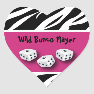 Zebra Animal Print WIld Bunco Player Heart Sticker