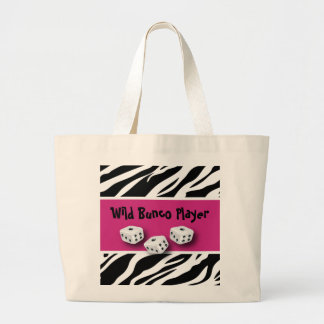 Zebra Animal Print WIld Bunco Player Large Tote Bag