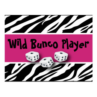 Zebra Animal Print WIld Bunco Player Postcard
