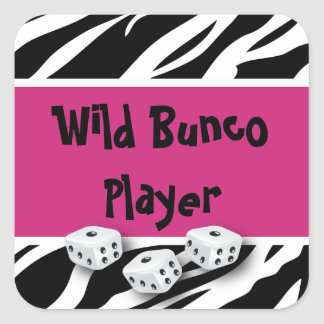 Zebra Animal Print WIld Bunco Player Square Sticker