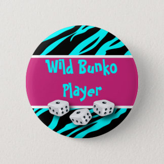 Zebra Animal Print Wild Bunko Player Pinback Button
