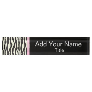 Zebra Animal Stripes with Pink Bar | Customize Desk Name Plate