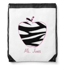 Zebra Apple Teacher Drawstring Backpack