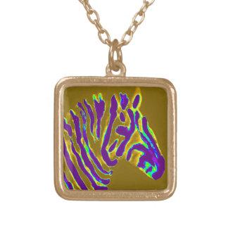 Zebra Art Purple Gold Square Pendant Necklace