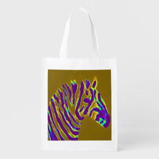 Zebra Art Purple Stripe Market Tote