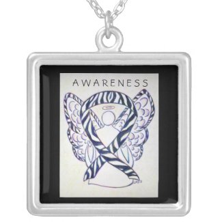 Zebra Awareness Ribbon Angel Art Jewelry Necklace