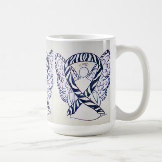 Zebra Awareness Ribbon Angel Art Mug