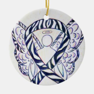 Zebra Awareness Ribbon Angel Art Ornaments