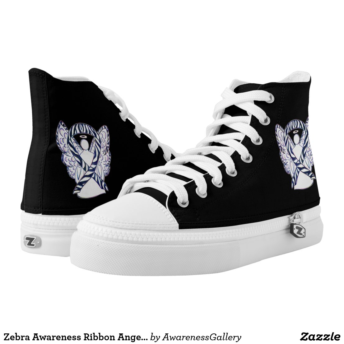 Zebra Awareness Ribbon Angel Custom Shoes