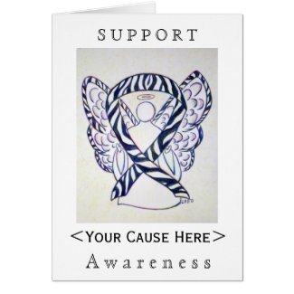 Zebra Awareness Ribbon Angel Customized Card