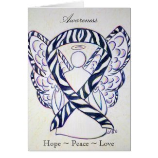 Zebra Awareness Ribbon Angel Greeting Card