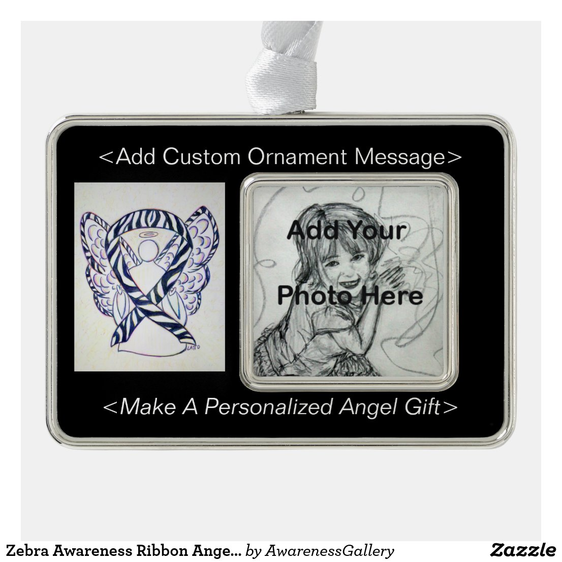 Zebra Awareness Ribbon Angel Ornament