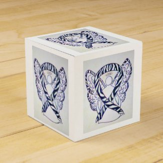 Zebra Awareness Ribbon Angel Party Favor Box