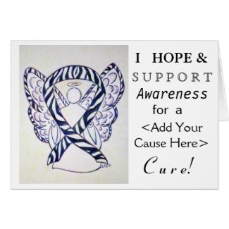 Zebra Awareness Ribbon Custom Cause Angel Cards