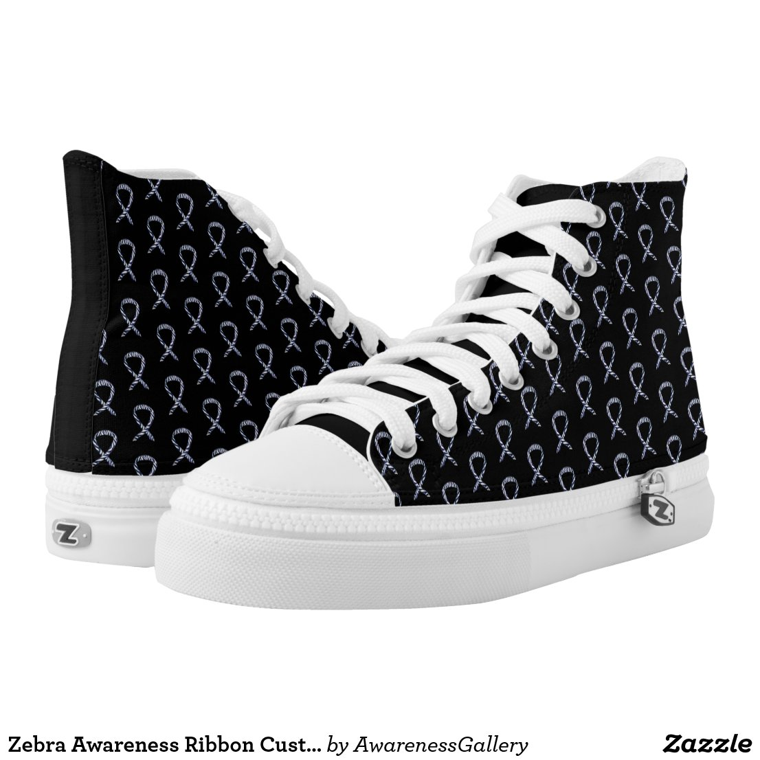 Zebra Awareness Ribbon Custom Shoe Sneakers