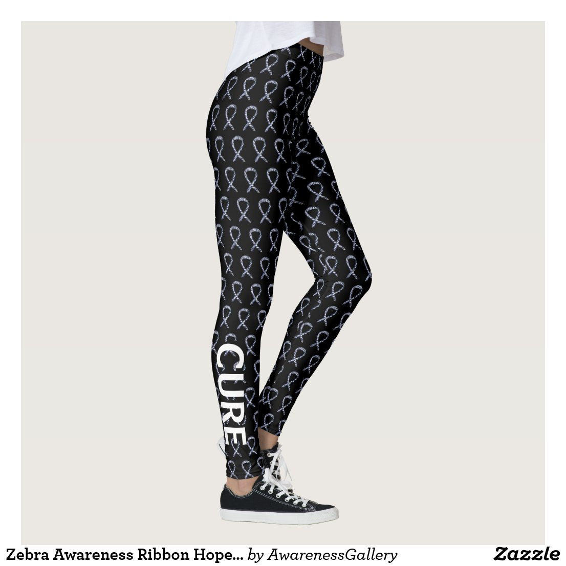 Zebra Awareness Ribbon Hope Cure Custom Leggings